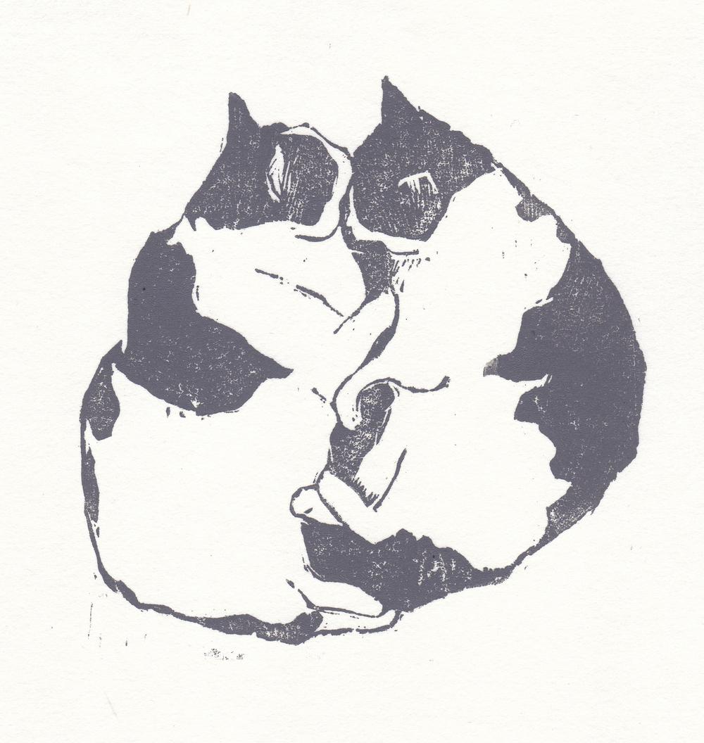 "kitties   woodblock print  edition of 30  5.25x5.25""  2013"