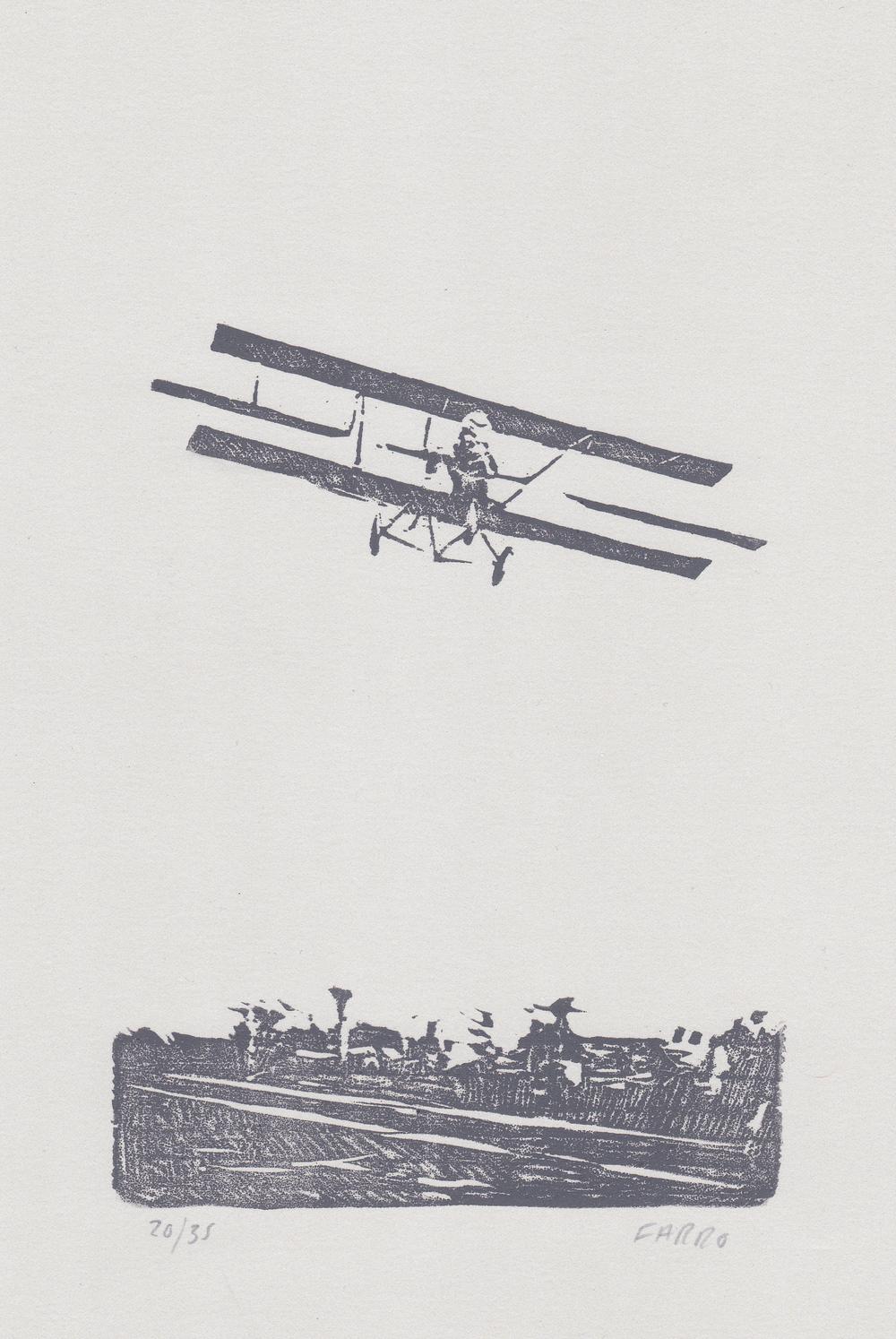 "Lincoln Beachey   woodblock print  edition of 35  4.5x6""  2013"