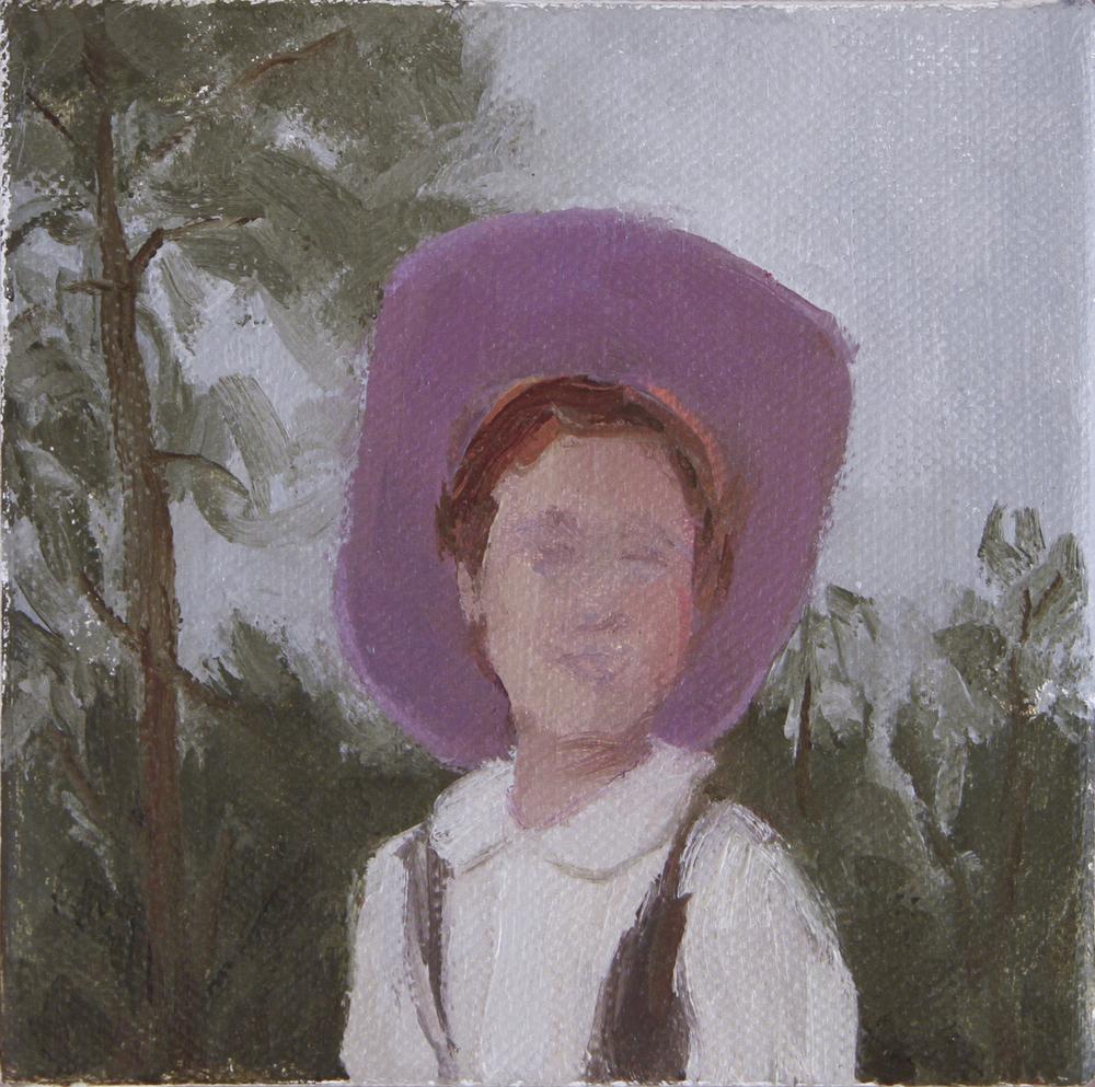 """rodeo girl  oil on canvas 5x5"""" 2014  stolen in Nashville, TN"""