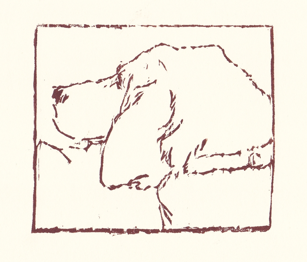 hound   woodblock print  edition of 35  3.25x3.75