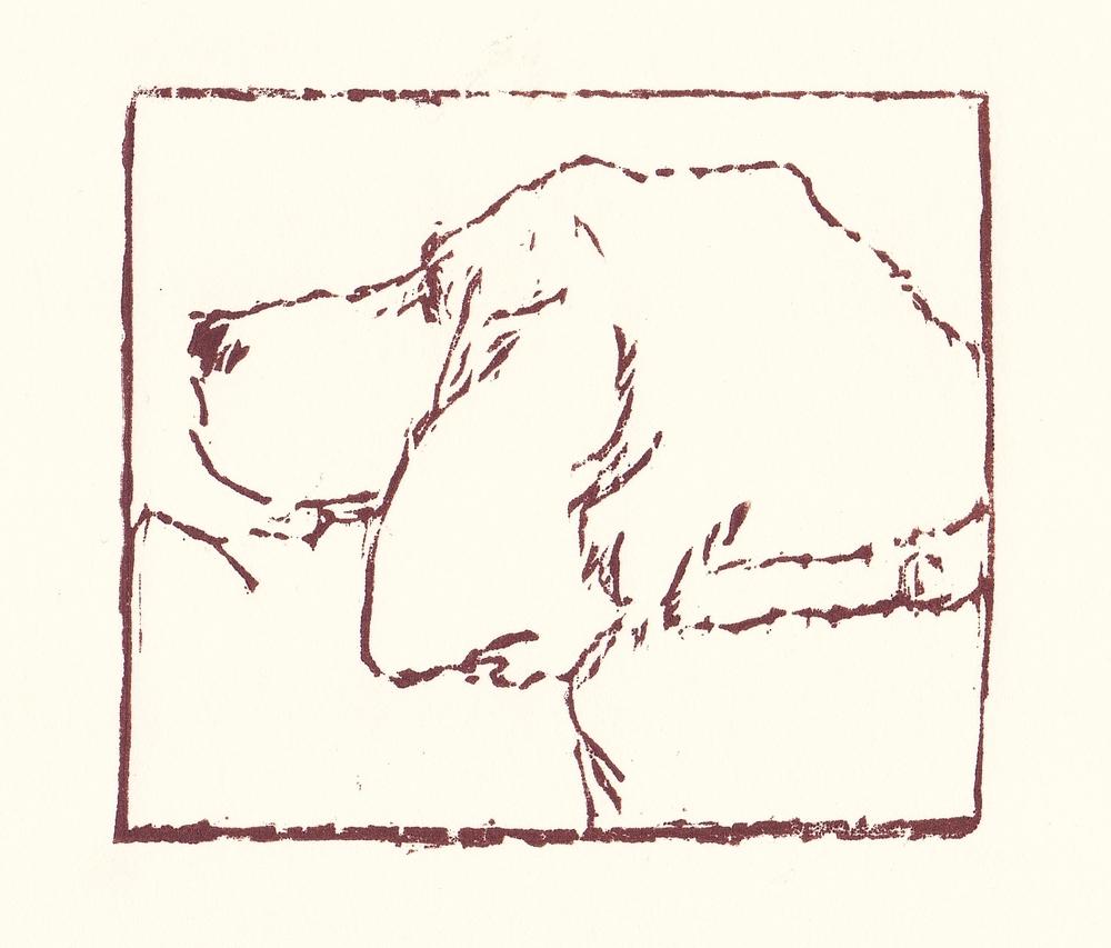 hound   woodblock print  edition of 35  3.25x3.75