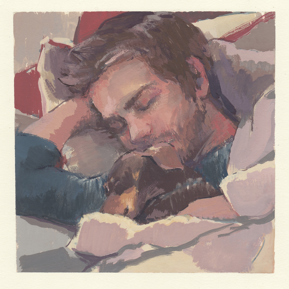 """Robert & Bailey  watercolor and gouache on paper 5.75x5.75"""" 2014  private collection Nashville, TN"""
