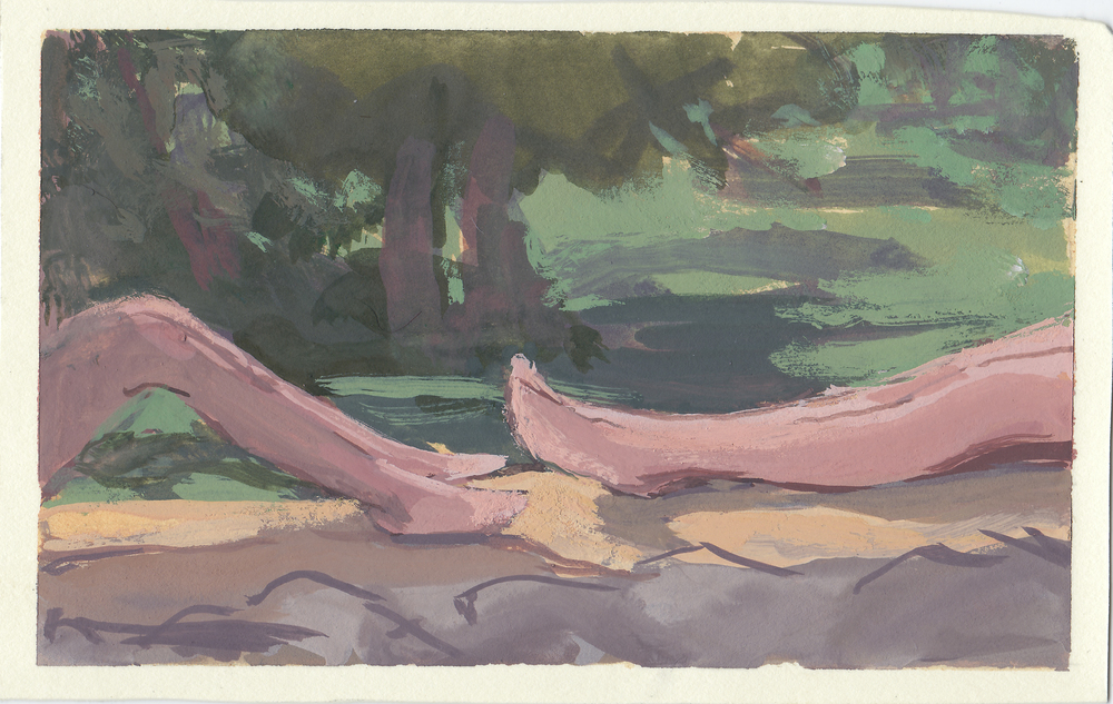 """legs  gouache on mounted paper 3x5"""" 2014  private collection Nashville, TN"""