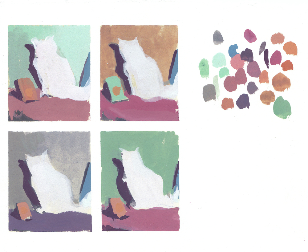 """color studies for """"Baby""""  gouache on paper 2014  available"""