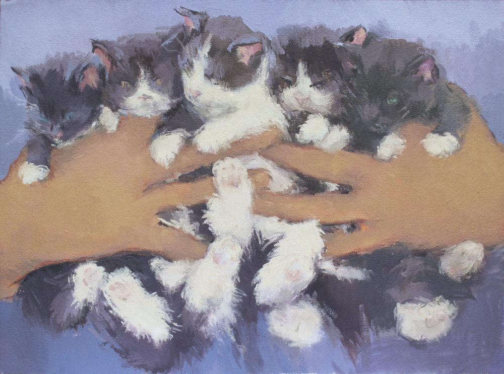 "kitten caboodle   oil on mounted canvas  10.5x14""  2015"