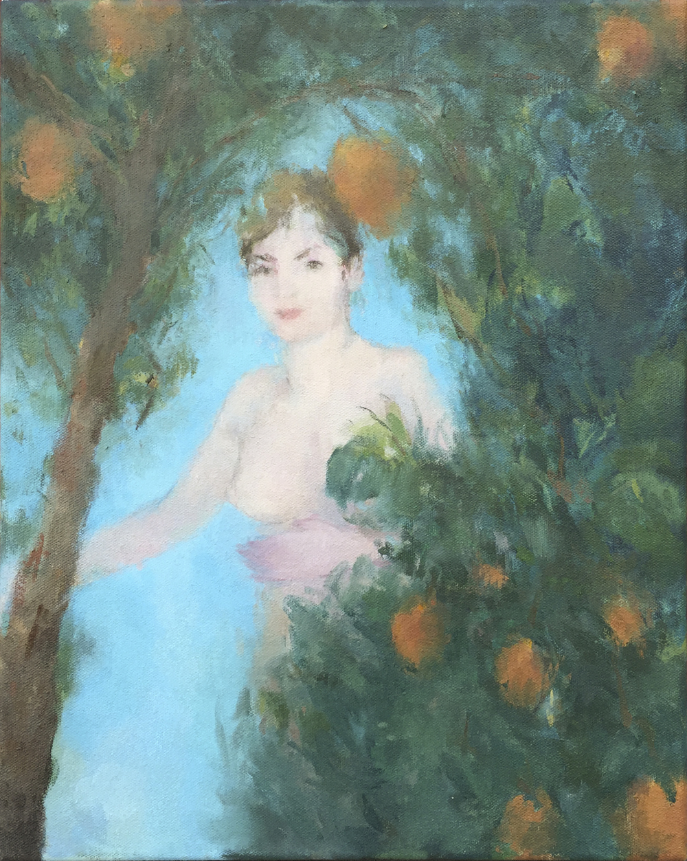 """Joan in the Garden  oil on canvas 14x18"""" 2015  private collection CA"""