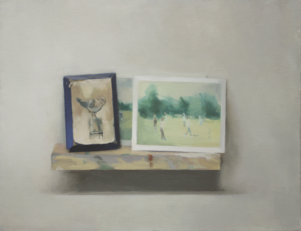 "still life with wooden bird and found photographs   oil on mounted canvas  11x14""  2011"