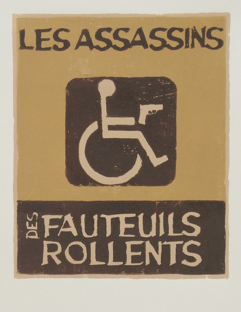 Les Assassins des Fauteuils Rollents   reductive woodblock print  edition of 11  8x10""