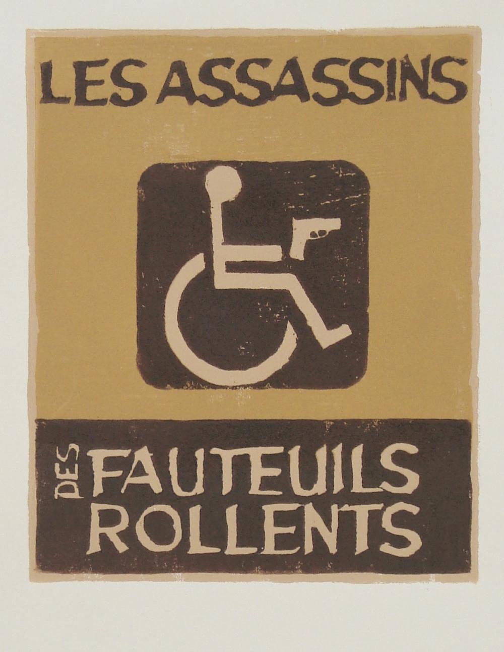 """Les Assassins des Fauteuils Rollents   reductive woodblock print  edition of 11  8x10"""""""