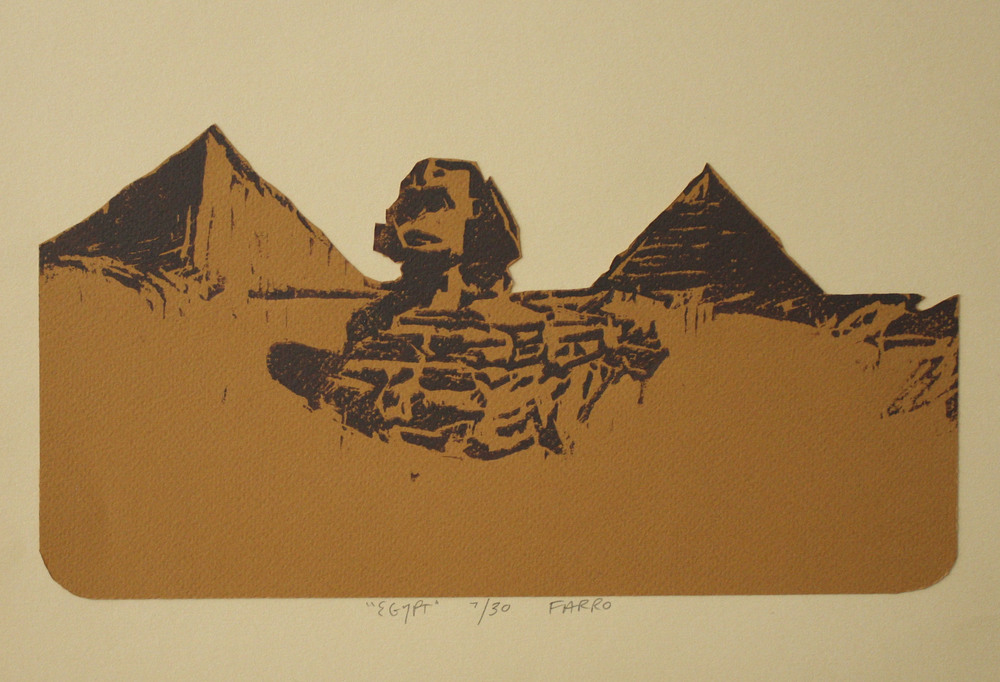"egypt   woodblock print  edition of 30  10x13""  2011"