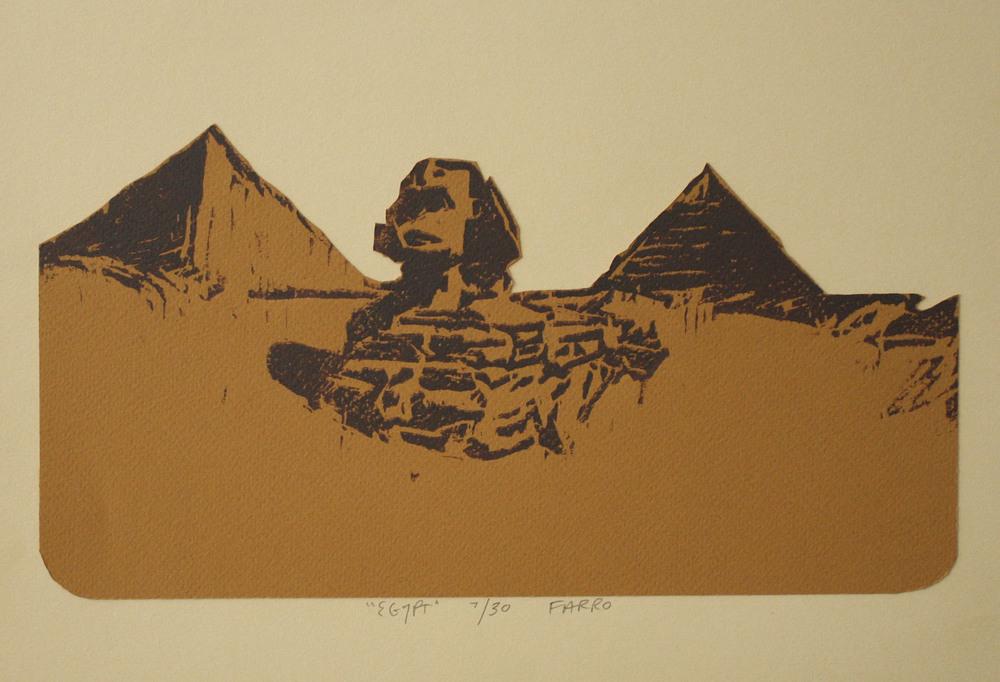 "egypt   woodblock print  edition of 30  10x13""  2011"