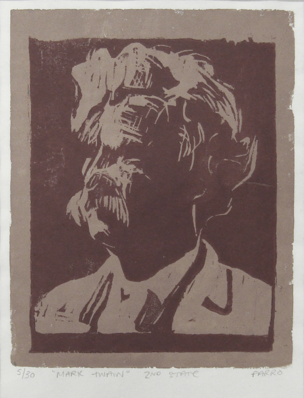 Mark Twain   woodblock print  2nd state  edition of 30  6x7""