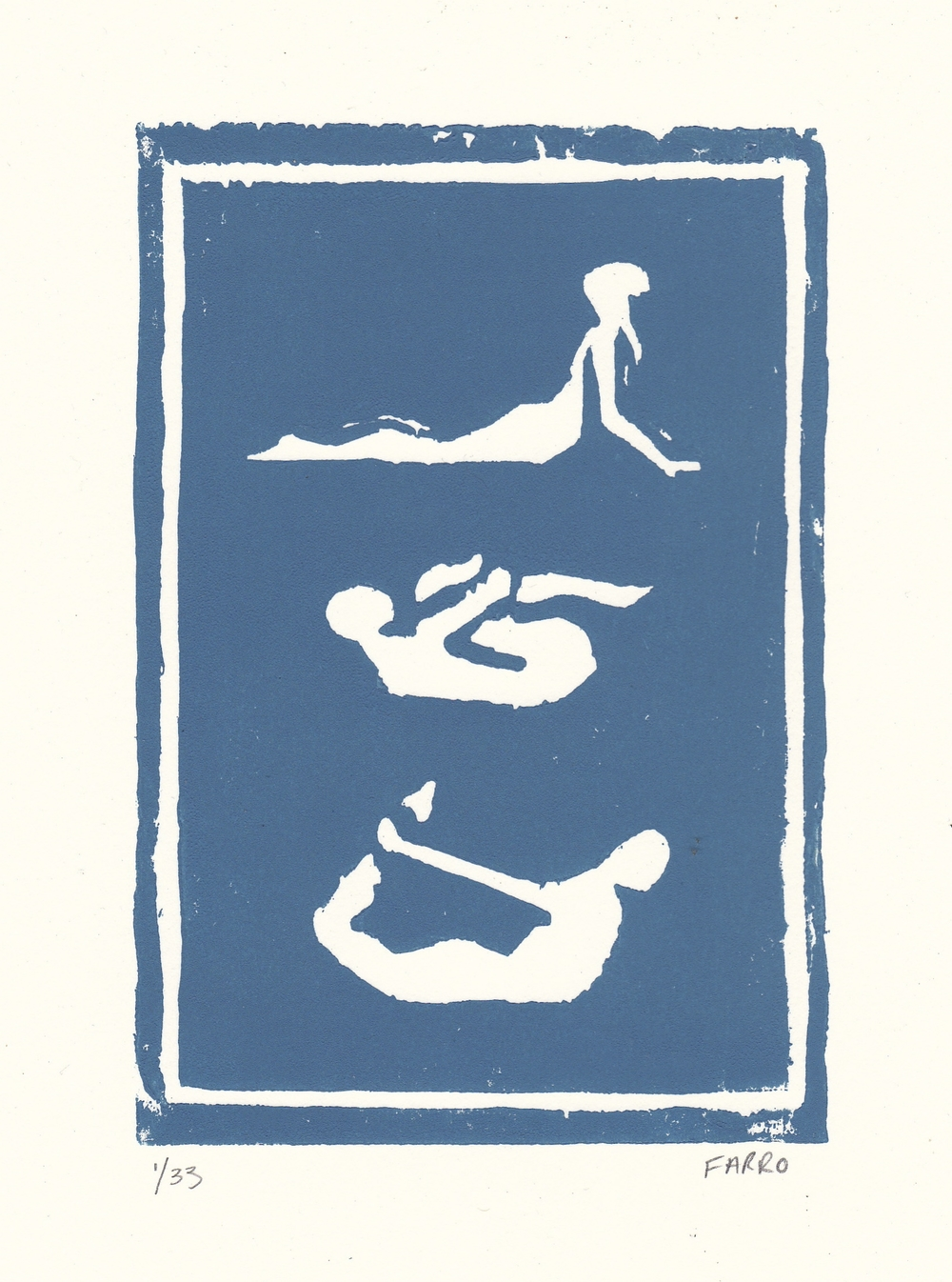 "yoga poses   woodblock print  edition of 33  5x7""  2011"
