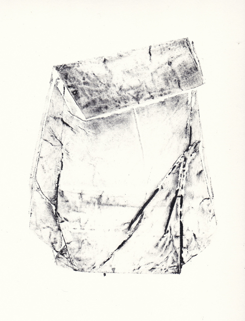Topography of a Flour Bag I   collagraph print  2012