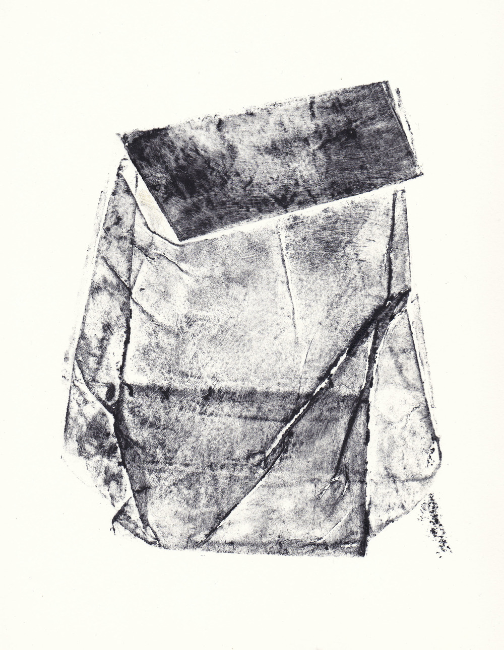 Topography of a Flour Bag III   collagraph print  2012