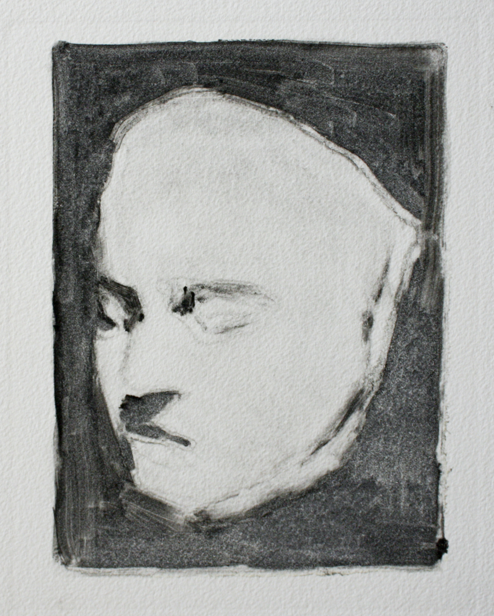 "Beethoven's Death Mask   ink on paper  7.5x9.75""  2011"