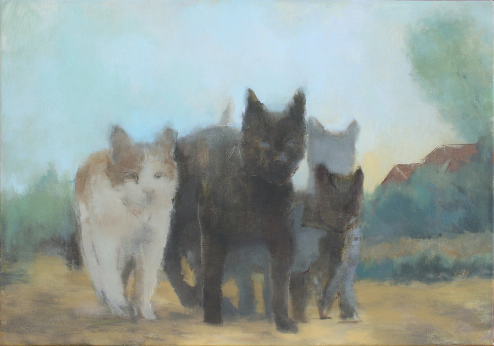 """alley cats  oil on canvas 21x30"""" 2015  private collection Manasquan, NJ"""