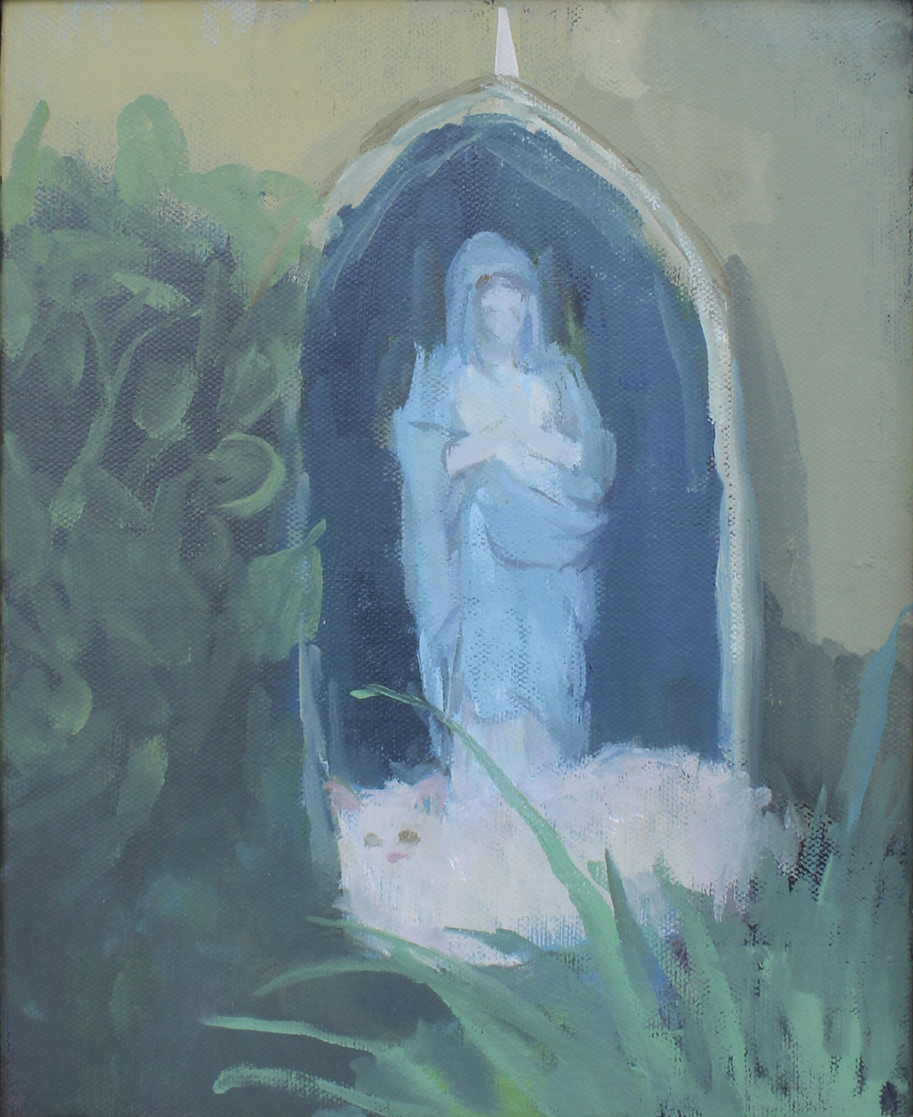 "garden with white cat and mother mary   oil on canvas  8x10""  2016"