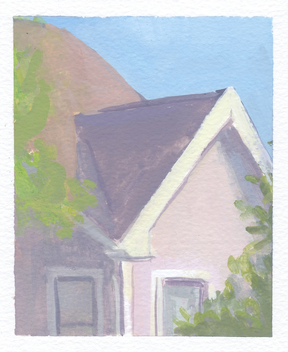 "purple house   gouache on paper  4x5""  2016"