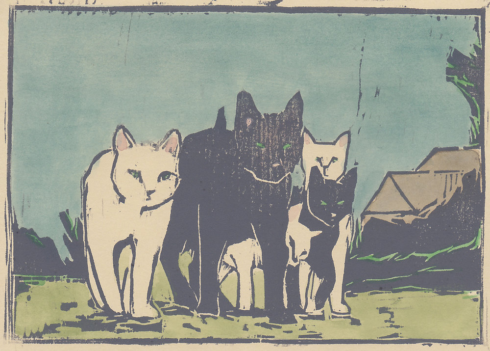 "alley cats   woodblock print with hand-coloring  5x7""  2016"