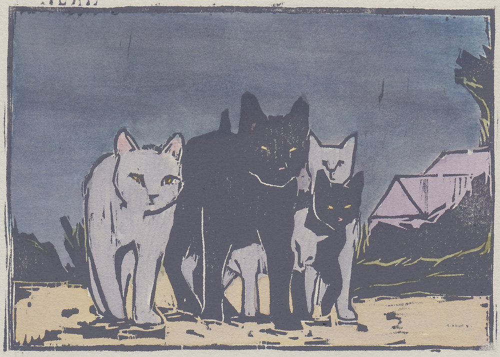 """alley cats  woodblock print with hand-coloring 5x7"""" 2016  private collection NJ"""