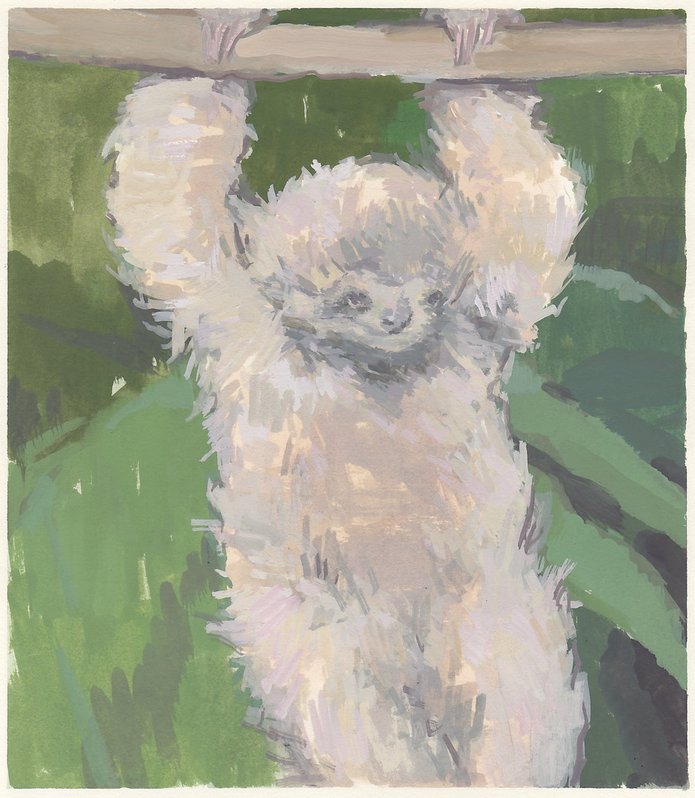 """sloth baby  gouache on paper 6.75x7.75"""" 2017  available"""