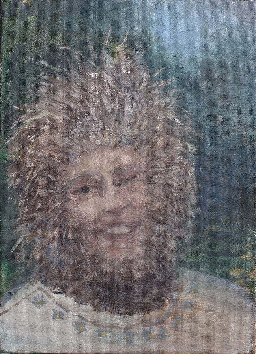 "porcupine lady   oil on canvas  9x12""  2016"