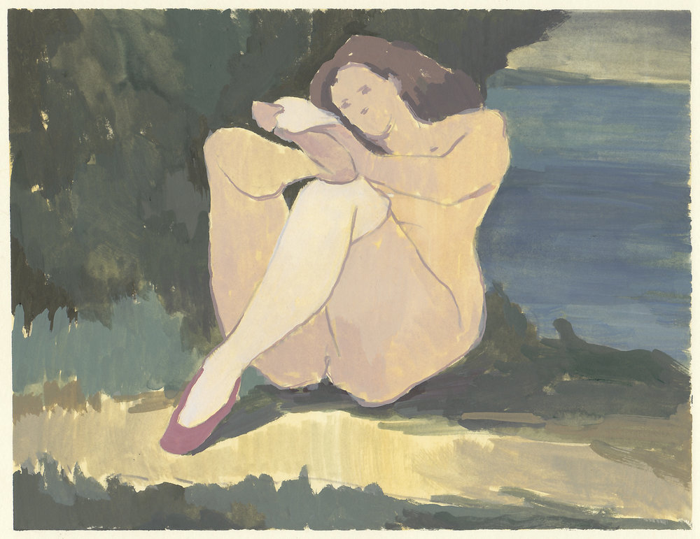 "woman with white socks   gouache on paper  9.25x7""  2017"