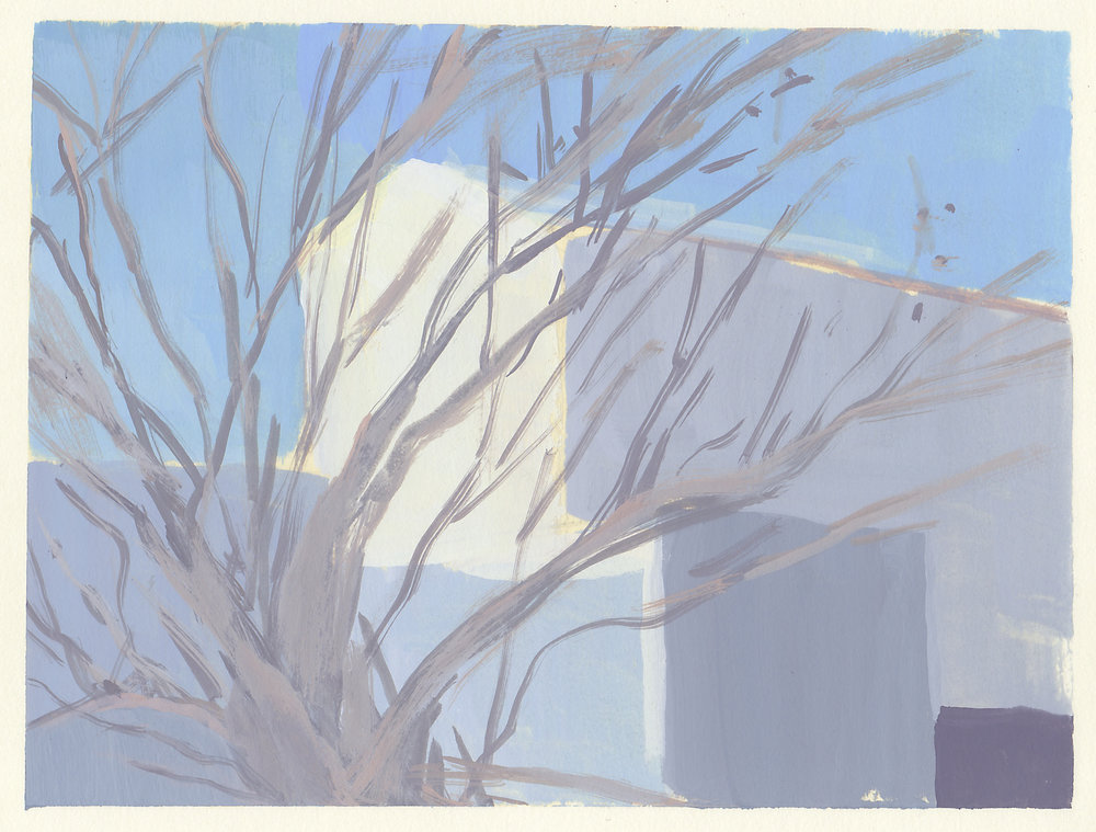 "winter tree   gouache on paper  5.5x7.25""  2017"