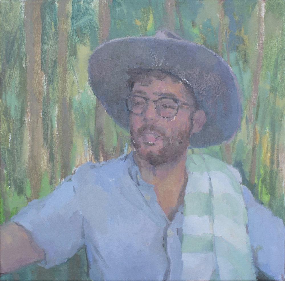 "Seth  oil on canvas 19x20"" 2016  private collection Chicago, IL"