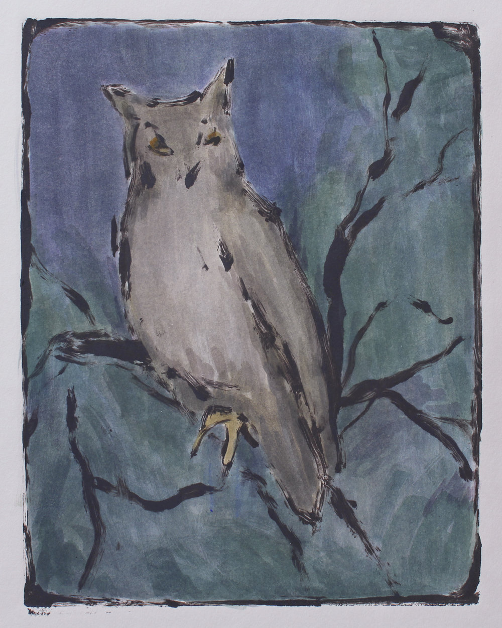 "night owl   monotype  unique edition  7.5x9.75""  2017"