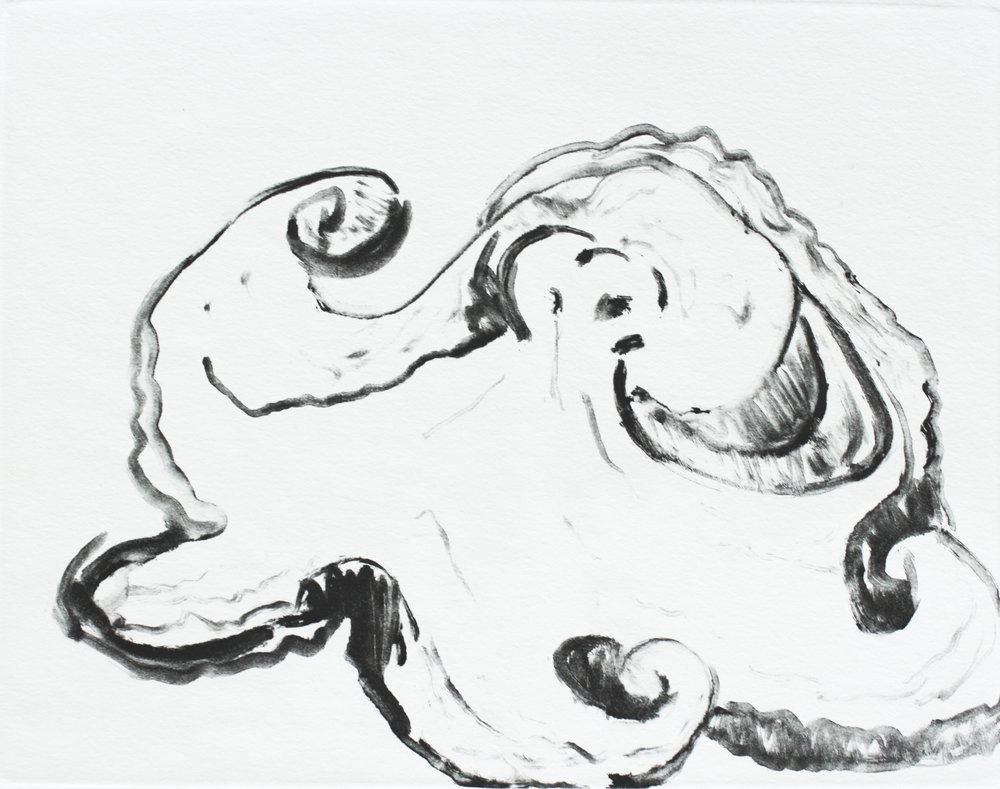 """sea creature   monotype  unique edition  7.5x9.75""""  2015"""