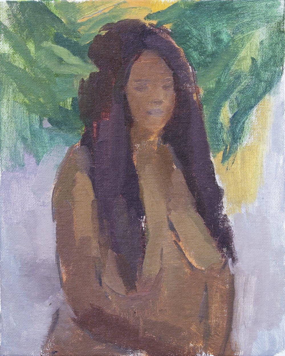 """black mona lisa   oil on canvas  8x10""""  2017"""