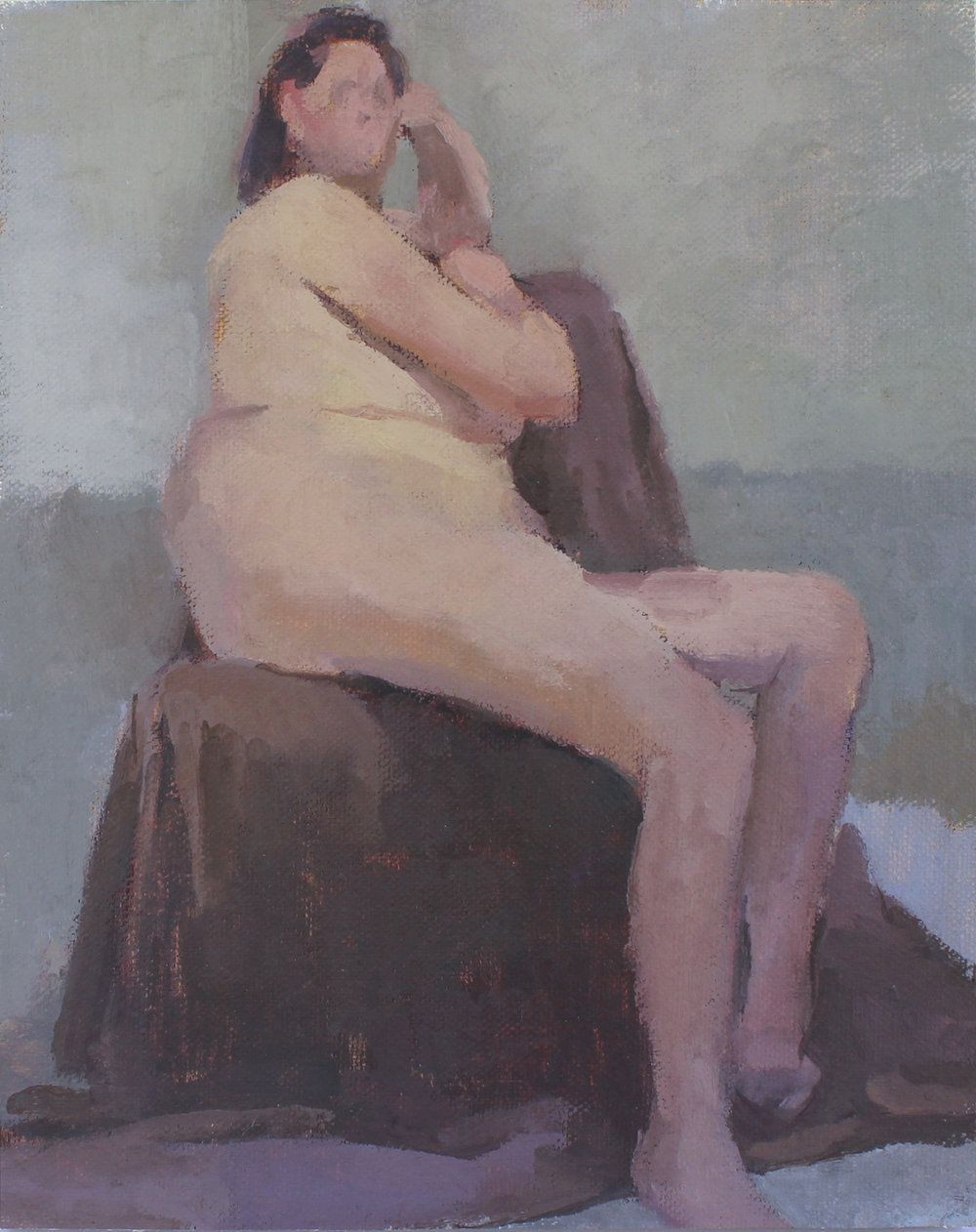 "reclining nude   oil on mounted canvas  8x10""  2017"