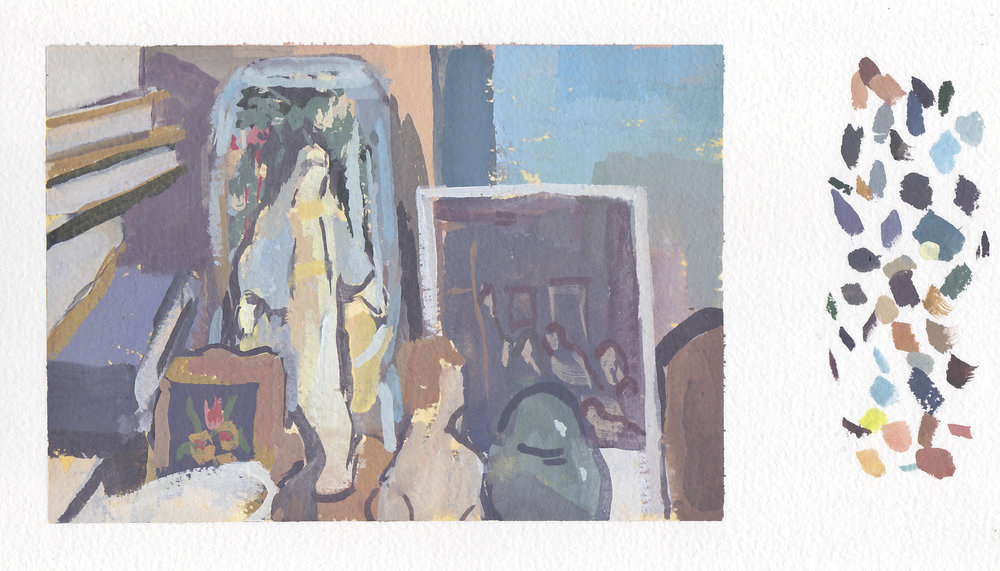 "still life with mother mary & urn   gouache on paper  5x7""  2017"