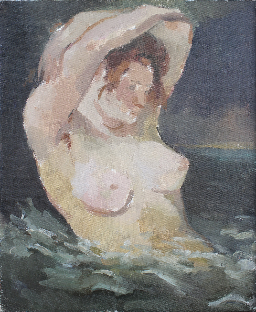 """the woman in the waves  oil on mounted canvas 10x13.5"""" 2017  private collection Nashville, TN"""