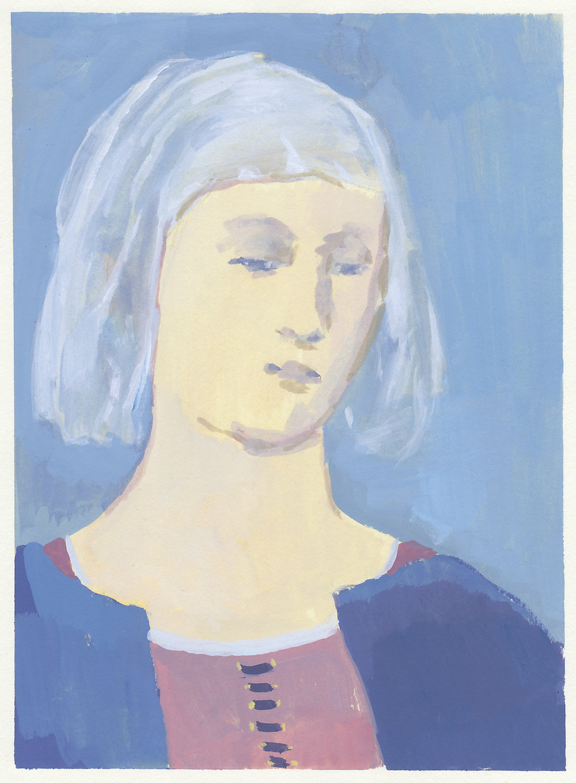 """renaissance woman  (study after Piero) gouache on paper 6x8.25"""" 2017   purchase"""
