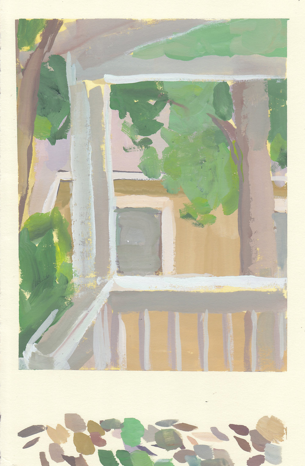 "ochre house, from the porch   gouache on paper  7.75x5.75""  2017"