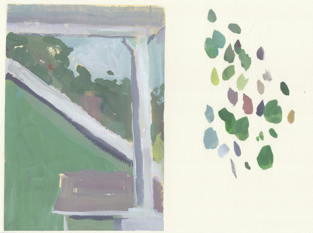 "green house   gouache on paper  5x6.75""  2017"