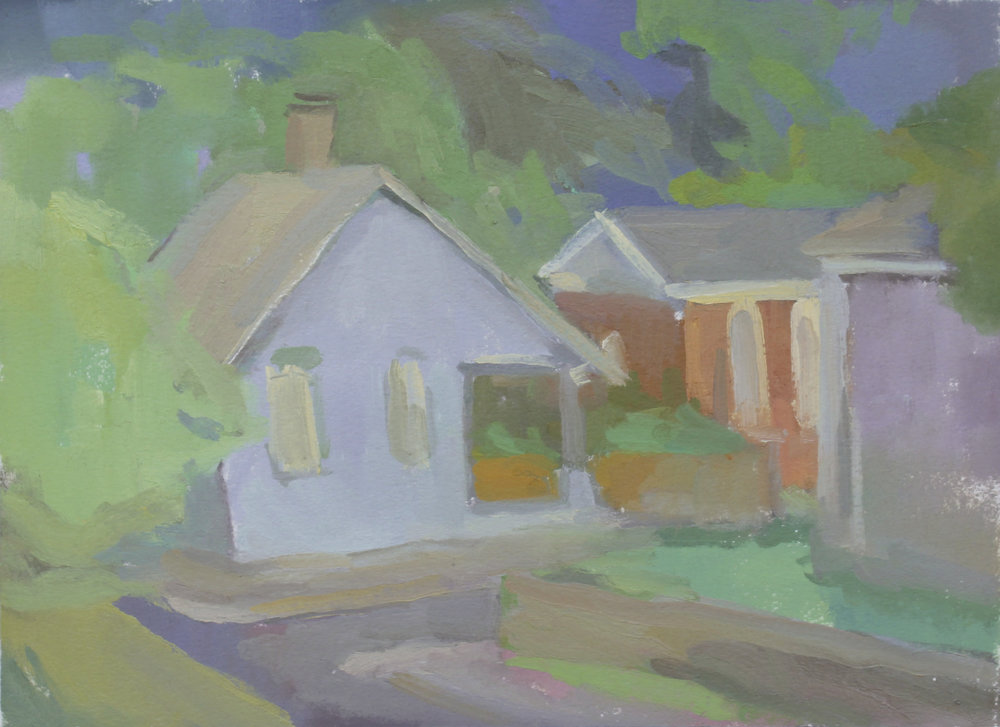 "germantown corner, after a summer storm   oil on paper  8.5x11.75""  2017   purchase"