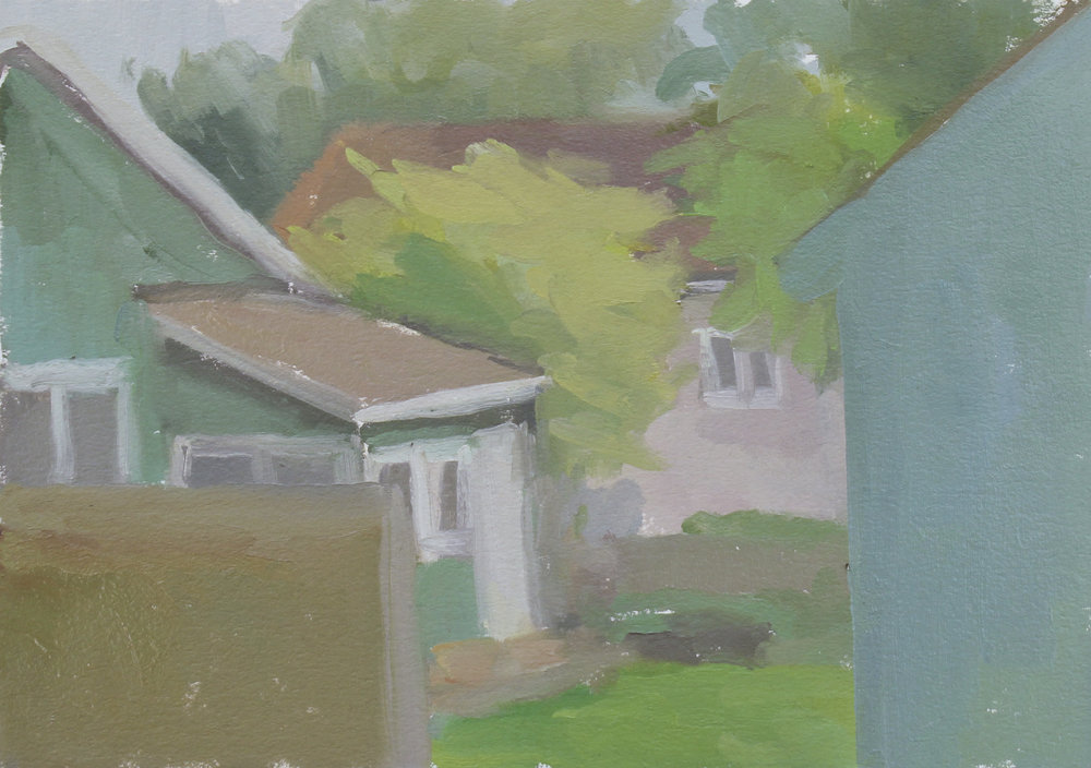"germantown corner, late spring   oil on paper  8.25x11.5""  2017   purchase"