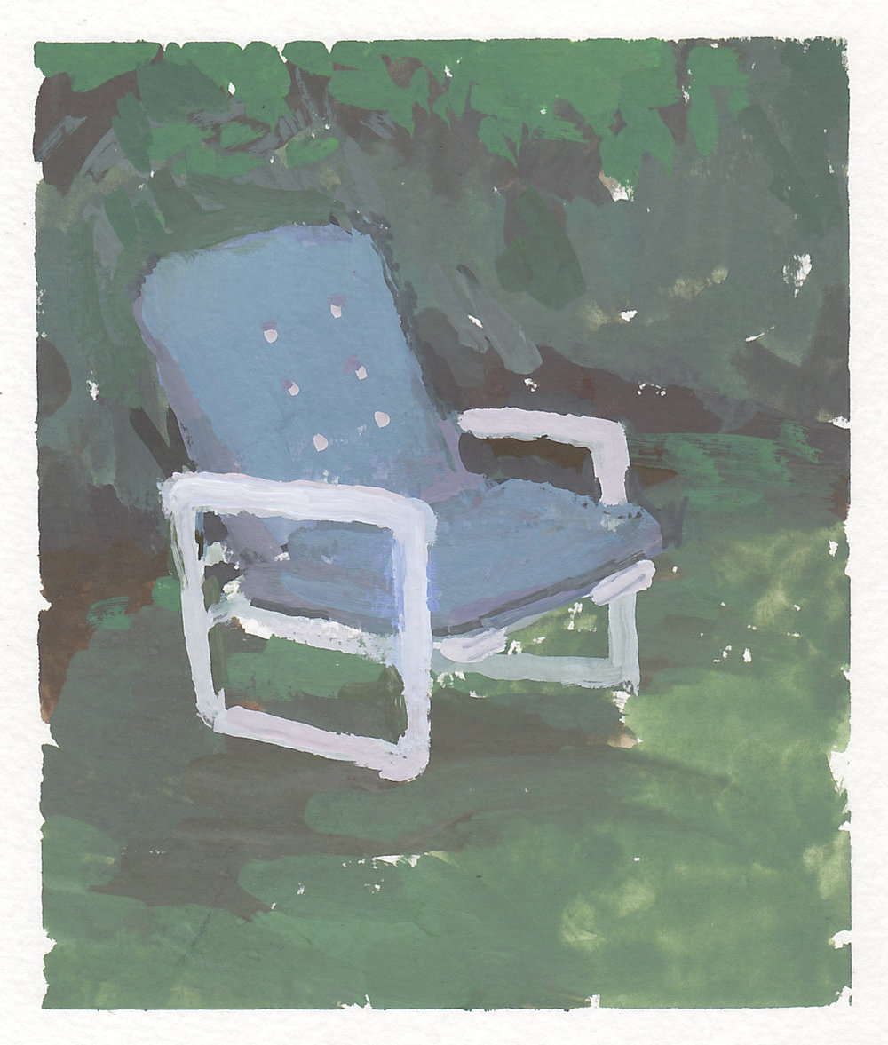 "crocky's blue chair   gouache on paper  4x4.75""  2017"