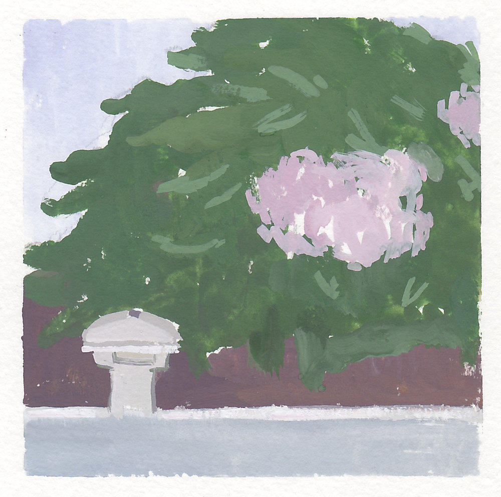 "poolside hydrangeas   gouache on paper  4x4""  2017"