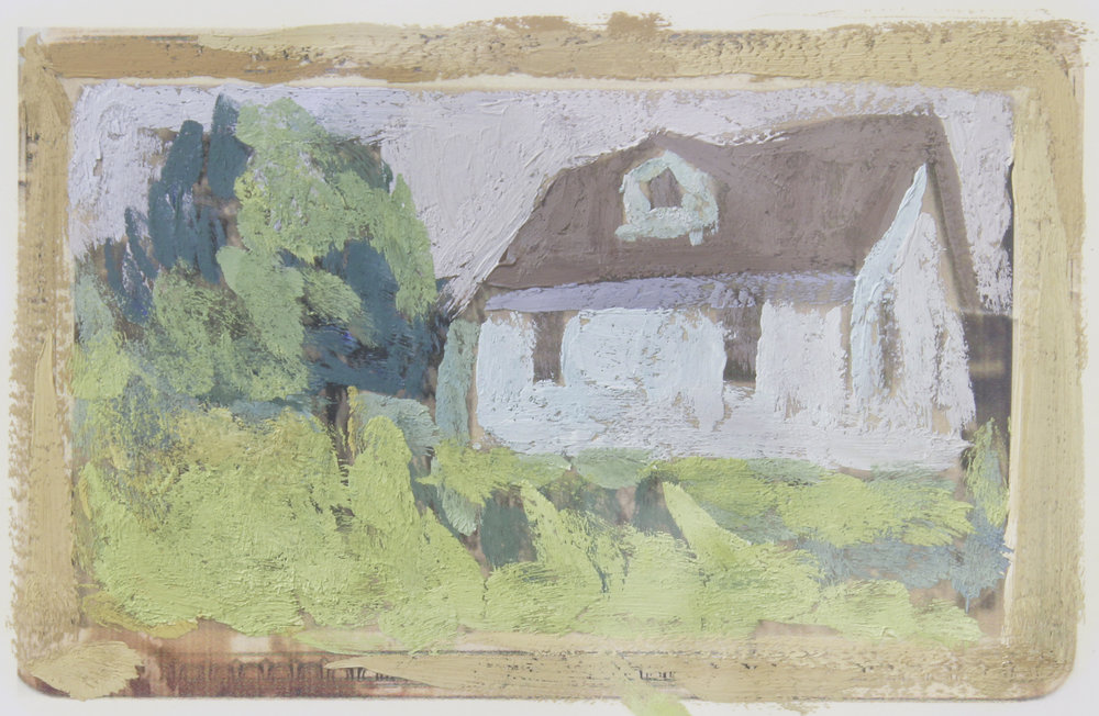 """house that jack built  oil on paper 4.5x3"""" 2016  private collection in Nashville, TN"""