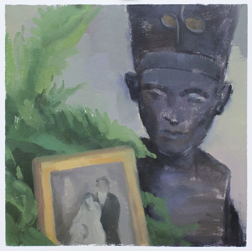 """nefertiti with ferns and framed photo   oil on paper  11.25x11.25""""  2017"""