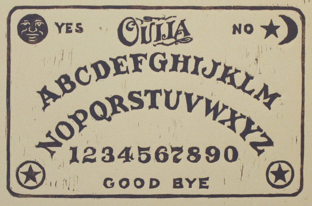 "Ouija Board   woodblock print  edition of 50  5.75x8.75""  2016"
