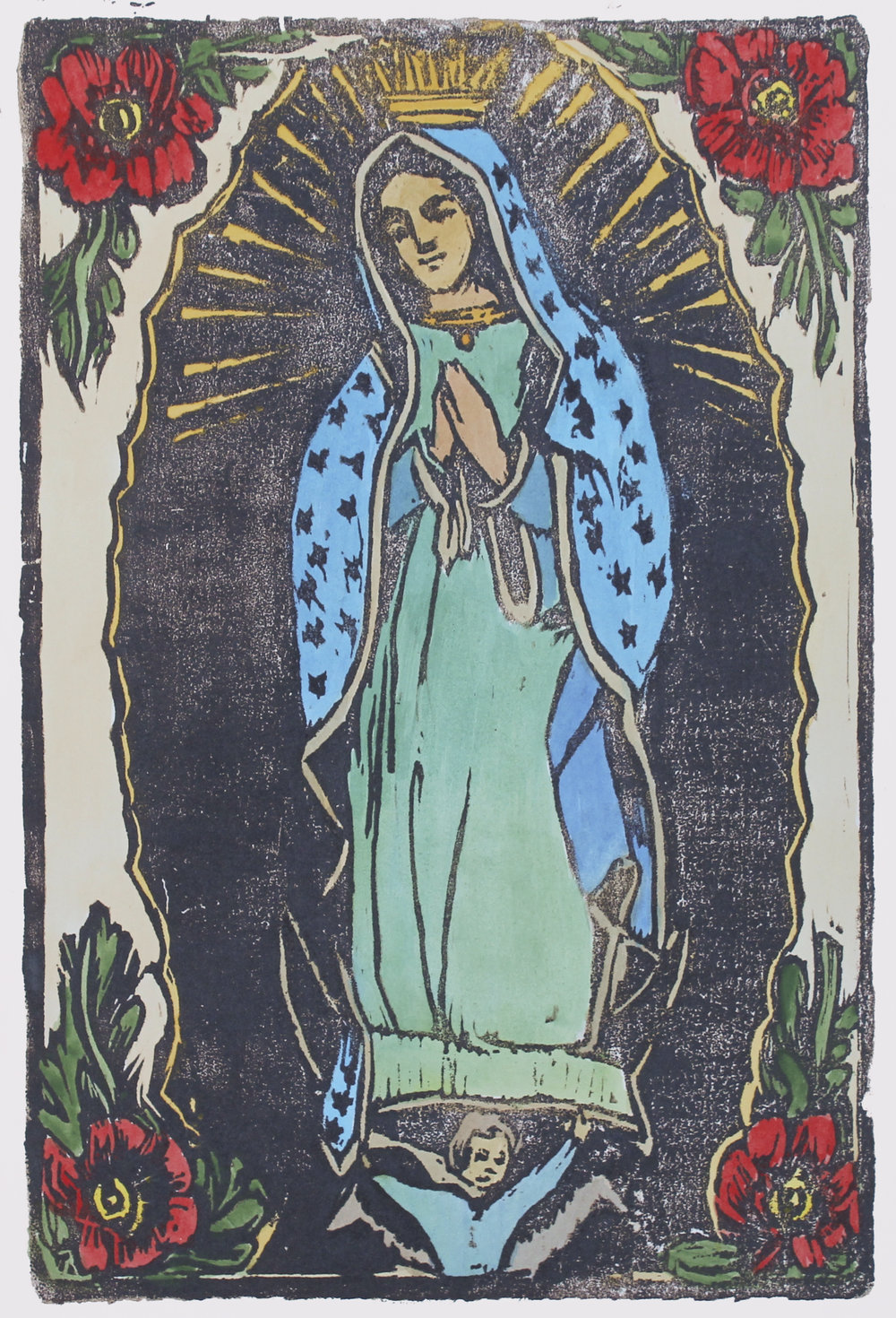 """Our Lady of Guadalupe  woodblock print with hand-coloring edition of 1 12x8"""" 2017  private collection CA"""
