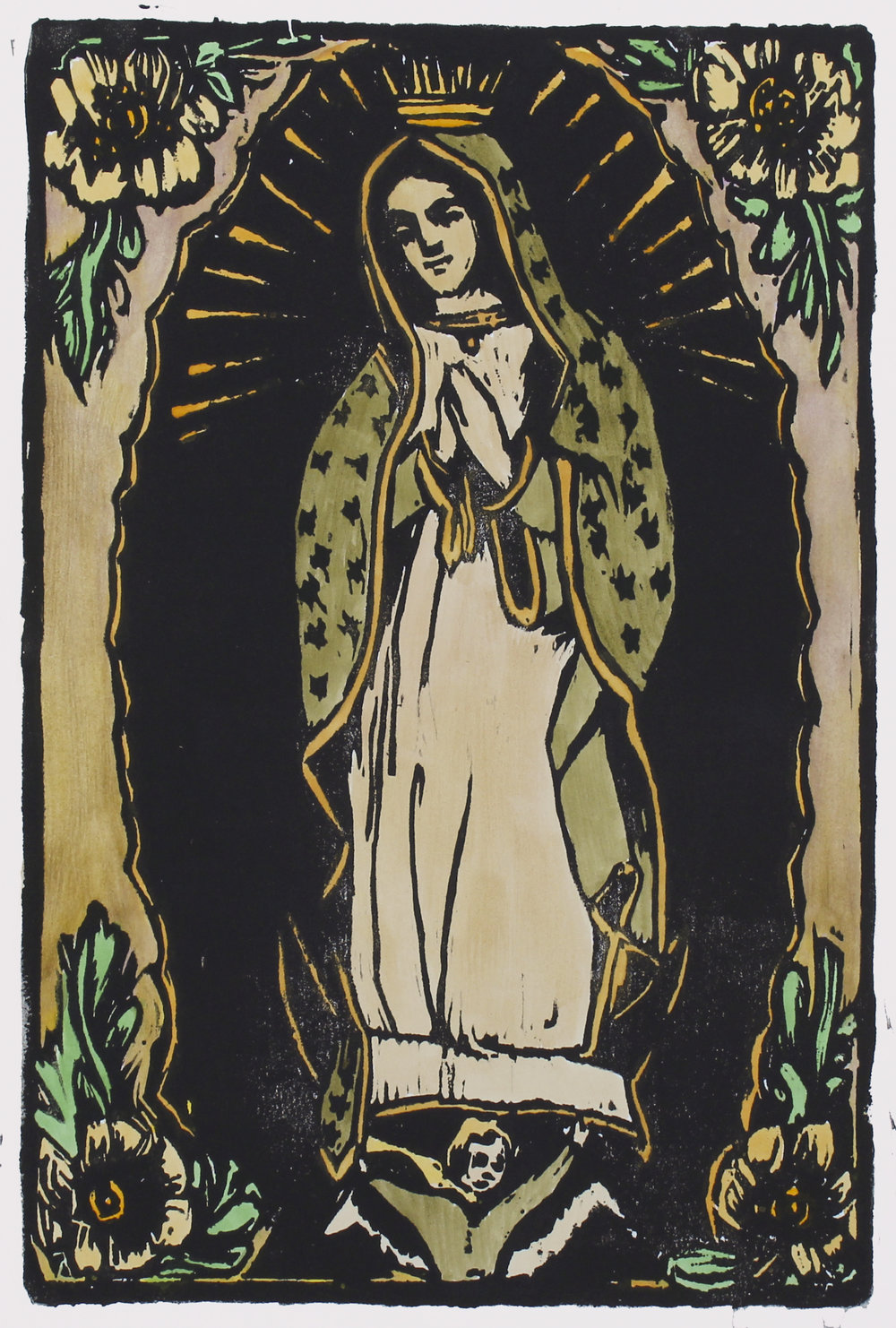 "Our Lady of Guadalupe   woodblock print with hand-coloring  edition of 1  12x8""  2017"