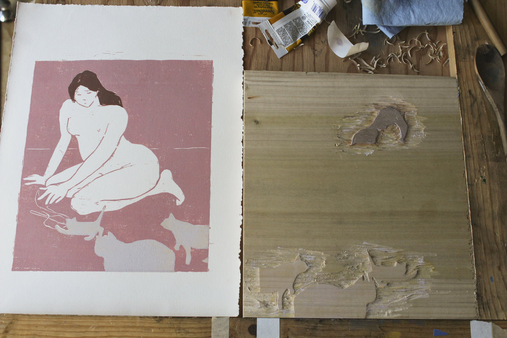 The second block printed.  Cat Lady  was inspired by a figure in a Felix Vallotton painting. Using these two blocks, I printed a small series of one-of-a-kind prints.