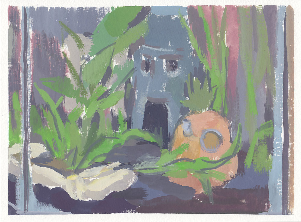 "spongbob fish tank   gouache on paper  7.5x5.5""  2017"